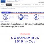 Coronavirus Covid19 confinement - autorisation de déplacement